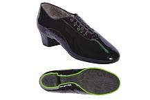 Ботинки мужские для латины из натуральной кожи черные с раздельной и полураздельной подошвой